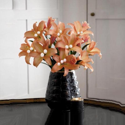 10 Pack 70 Pcs Peach Artificial Silk Tiger Lily Flowers