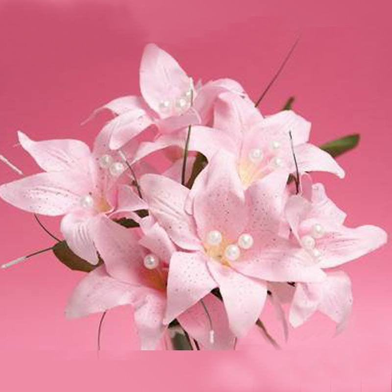 10 Pack Pink Artificial Silk Tiger Lily Flower Bridal Bouquet ...