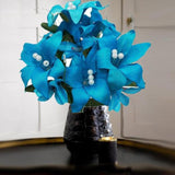 10 Pack 70 Pcs Turquoise Artificial Silk Tiger Lily Flowers