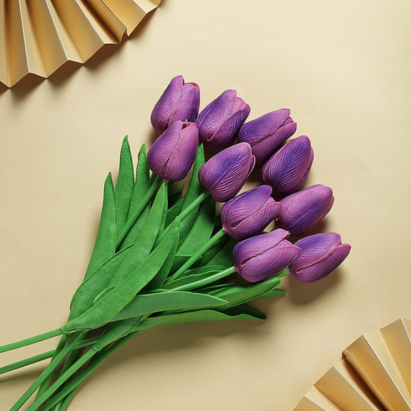 "10 Pack | 13"" Eggplant Single Stem Real Touch Tulips Artificial Flowers Bouquet, Foam Wedding Flowers"