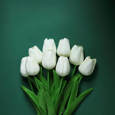 10 Pack | 13 inch White Single Stem Real Touch Tulips Artificial Flowers Bouquet, Foam Wedding Flowers