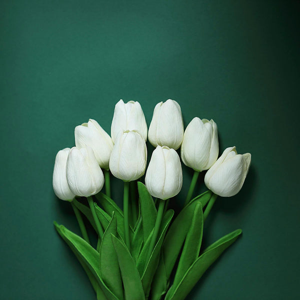 "10 Pack | 13"" White Single Stem Real Touch Tulips Artificial Flowers Bouquet, Foam Wedding Flowers"