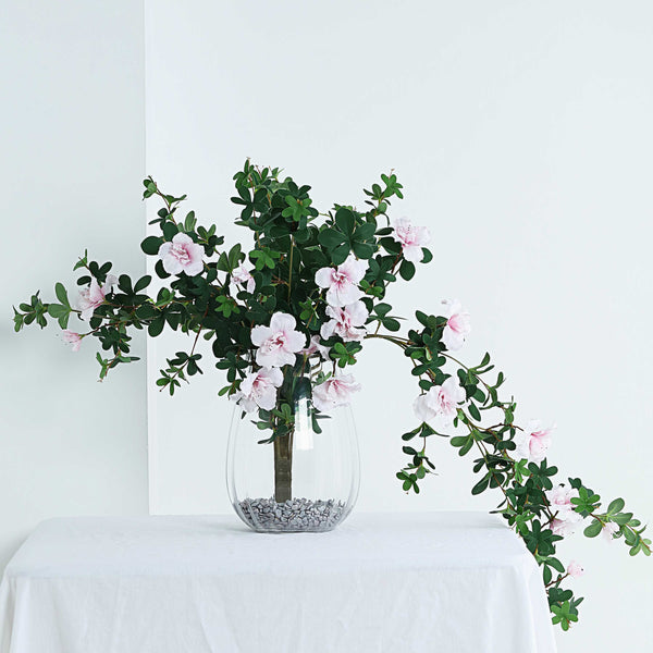 "30"" Real Touch Silk Rhododendron Bush Flowering Vines, Artificial Hanging Plants - Blush 