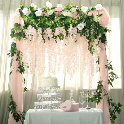 "5 Bushes | 44"" Artificial Wisteria Vine Ratta Silk Hanging Garland Wedding Decor - Blush 