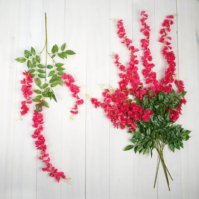 "5 Bushes | 44"" Artificial Wisteria Vine - Ratta Silk Hanging Flower Garland 