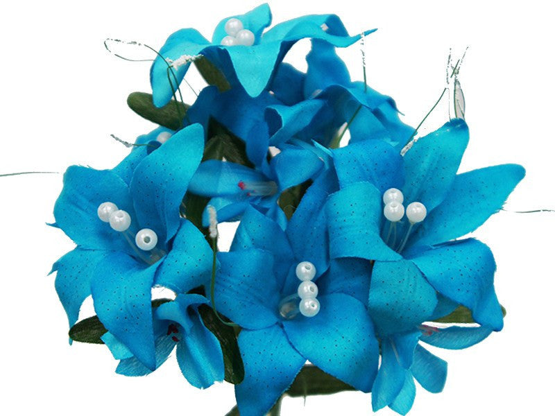 10 Pack 70 Pcs Turquoise Artificial Silk Tiger Lily Flowers Bridal ...