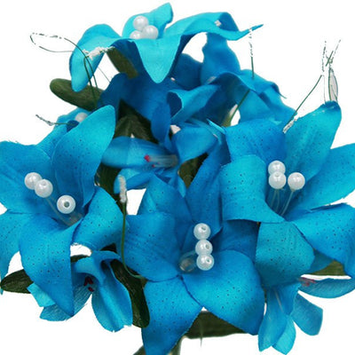 70 Artificial Silk Tiger Lily Wedding Flower Bouquet Vase Centerpiece Decor - Turquoise