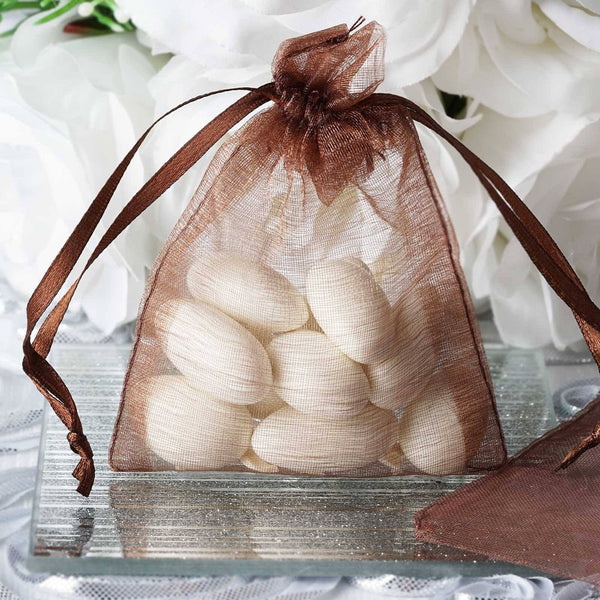 "Pack of 10 | 3""x4"" Chocolate Organza Drawstring Pouch Candy Favor Bags 