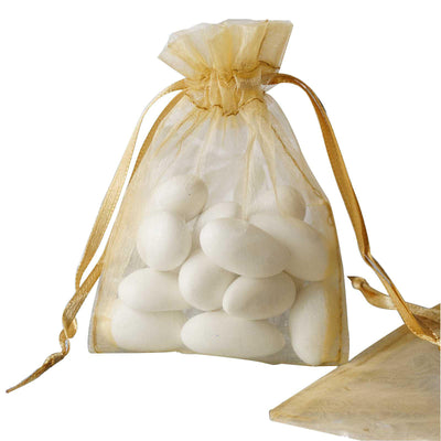 "10 Pack | 3""x4"" Gold Organza Favor Bags Party Drawstring Pouches"