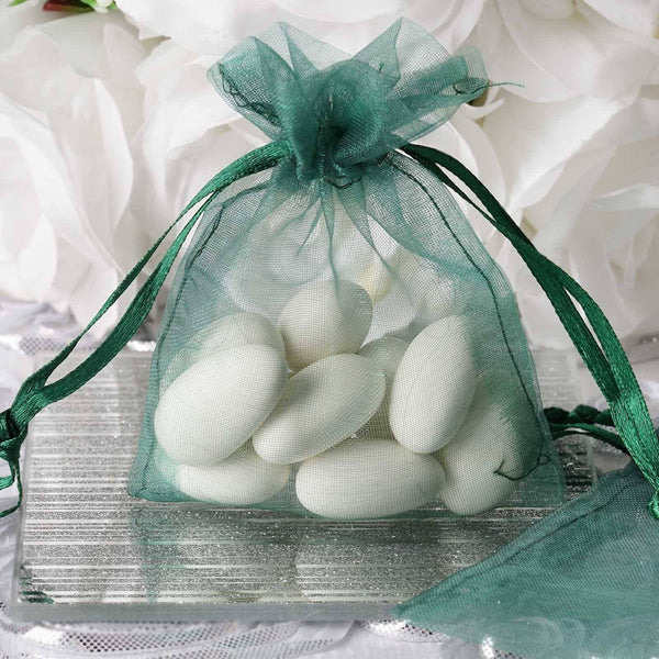 "Pack of 10 | 3""x4"" Hunter Emerald Green Organza Drawstring Pouch Candy Favor Bags 