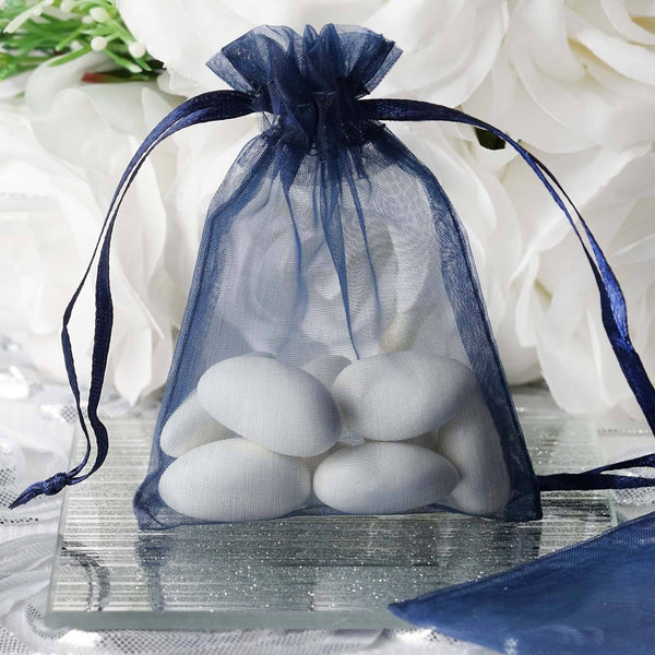 "Pack of 10 | 3""x4"" Navy Blue Organza Drawstring Pouch Candy Favor Bags 