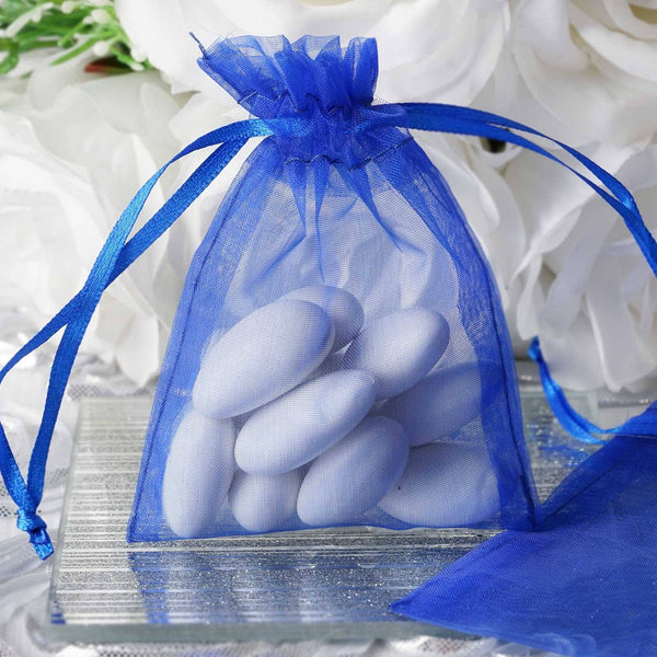 "Pack of 10 | 3""x4"" Royal Blue Organza Drawstring Pouch Candy Favor Bags 