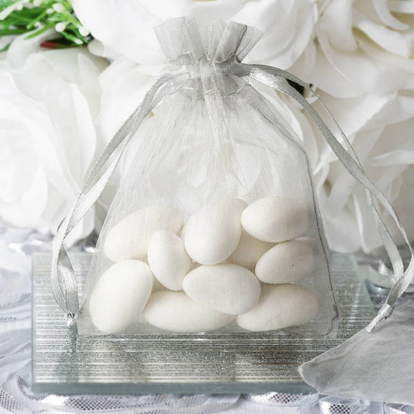 "Pack of 10 | 3""x4"" Silver Organza Drawstring Pouch Candy Favor Bags 
