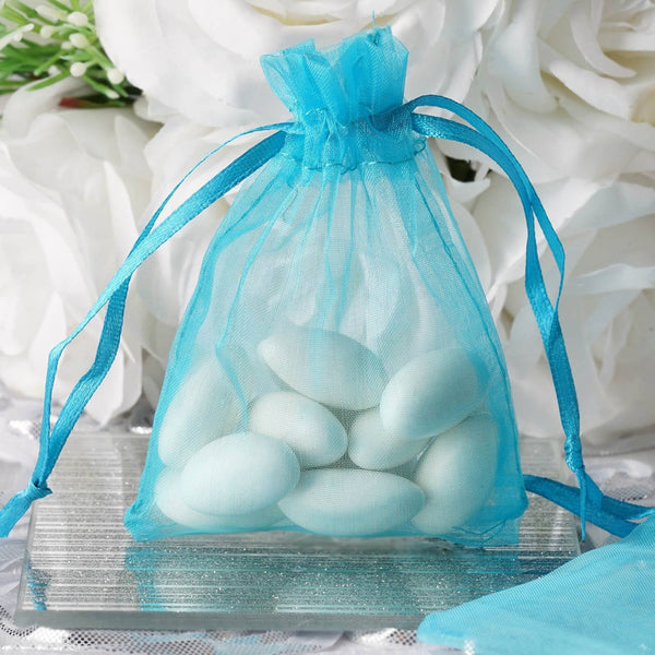 "Pack of 10 | 3""x4"" Turquoise Organza Drawstring Pouch Candy Favor Bags 