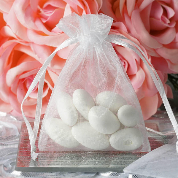 "Pack of 10 | 3""x4"" White Organza Drawstring Pouch Candy Favor Bags 