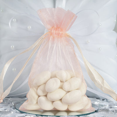 "10 Pack 4x6"" Organza Drawstring Candy Favor Bags - Rose Gold/Blush"