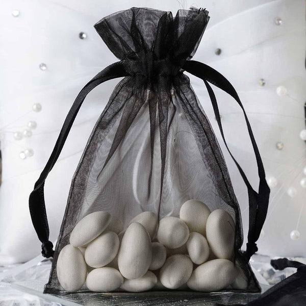 """10 Pack 4x6"""" Black Organza Drawstring Party Favor Gift Pouch Candy Bags"""
