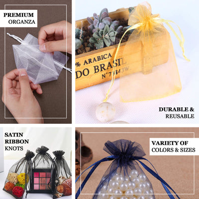 "Pack of 10 | 4""x6"" Yellow Organza Drawstring Pouch Candy Favor Bags 