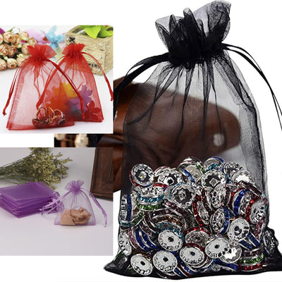 "Pack of 10 | 5""x7"" Silver Organza Drawstring Pouch Candy Favor Bags 