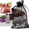 "Pack of 10 | 5""x7"" Black Organza Drawstring Pouch Candy Favor Bags 