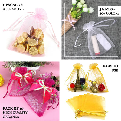 "Pack of 10 | 5""x7"" Fushia Organza Drawstring Pouch Candy Favor Bags 