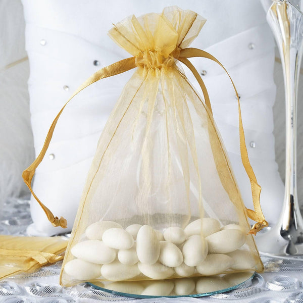 "Pack of 10 | 5""x7"" Gold Organza Drawstring Pouch Candy Favor Bags 