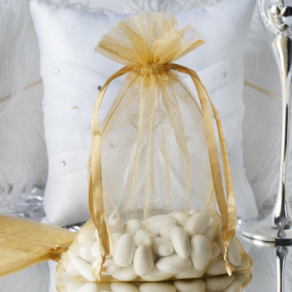"Pack of 10 | 6""x9"" Gold Organza Drawstring Pouch Candy Favor Bags 