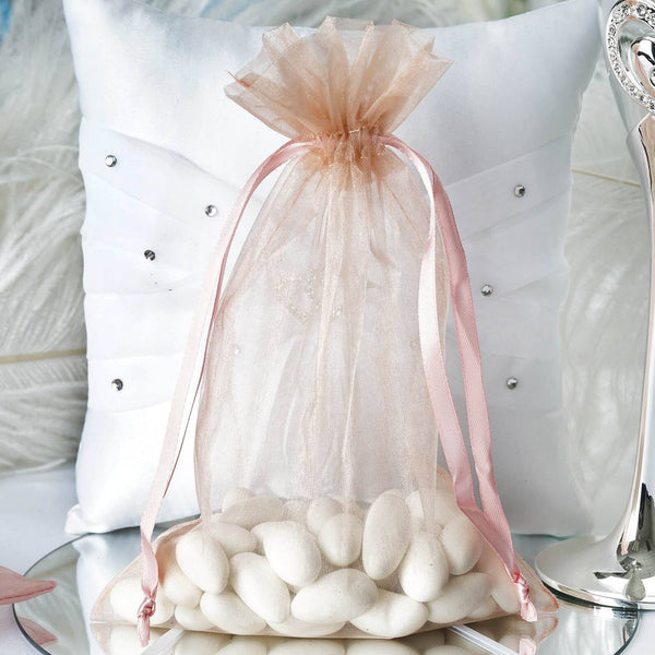 "Pack of 10 | 6""x9"" Rose Quartz Organza Drawstring Pouch Candy Favor Bags 