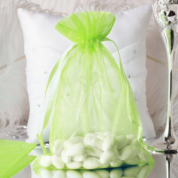 "Pack of 10 | 6""x9"" Tea Green Organza Drawstring Pouch Candy Favor Bags 