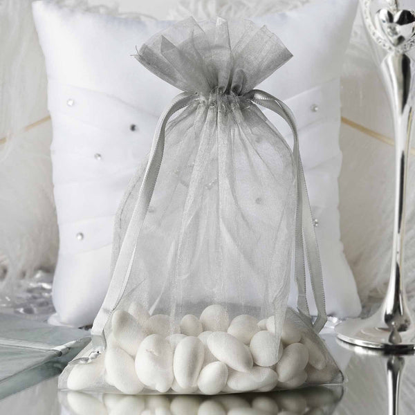 "Pack of 10 | 6""x9"" Silver Organza Drawstring Pouch Candy Favor Bags 