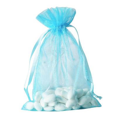 "Pack of 10 | 6""x9"" Turquoise Organza Drawstring Pouch Candy Favor Bags 