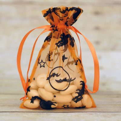 "4"" x 6"" unLucky Cat Themed Halloween Organza Bags - 10/pk - Orange"
