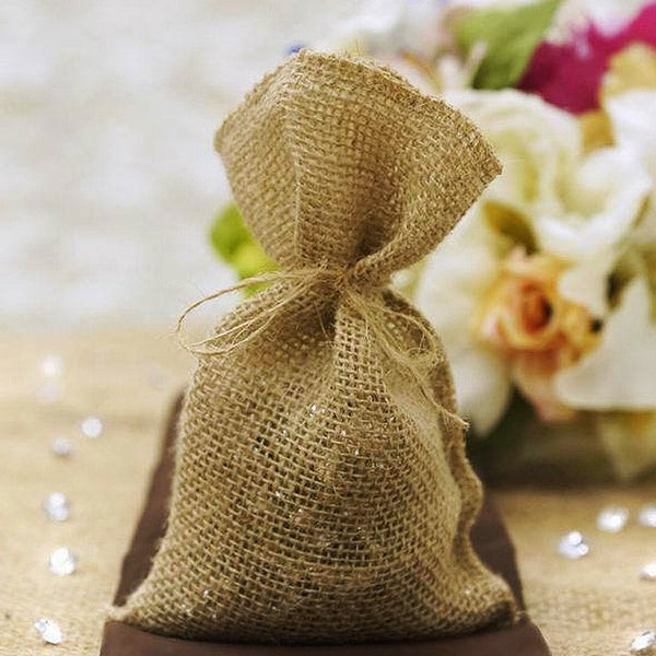 "10 Pack | 4""x7"" Natural Jute Burlap Party Favor Bags 