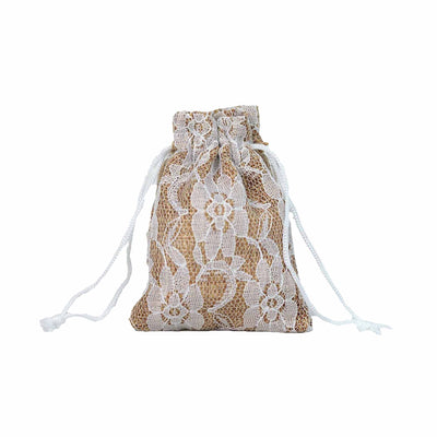 "10 Pack 4""X6"" Rustic Burlap and Floral Lace Drawstring Favor Bags"