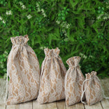 "10 Pack 4X6"" Rustic Burlap and Floral Lace Drawstring Favor Bags"