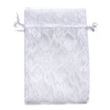 "10 Pack 6X9"" White Floral Lace Drawstring Favor Bags"
