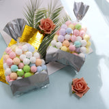 4x9 Silver Cellophane Bags, Metallic Banded Favor Bags, Candy Bags