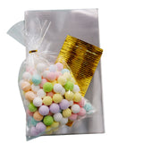 100PCS - 6 inch x10 inch Clear Cellophane Treat Bags with Metallic Twist Ties, Candy Bags