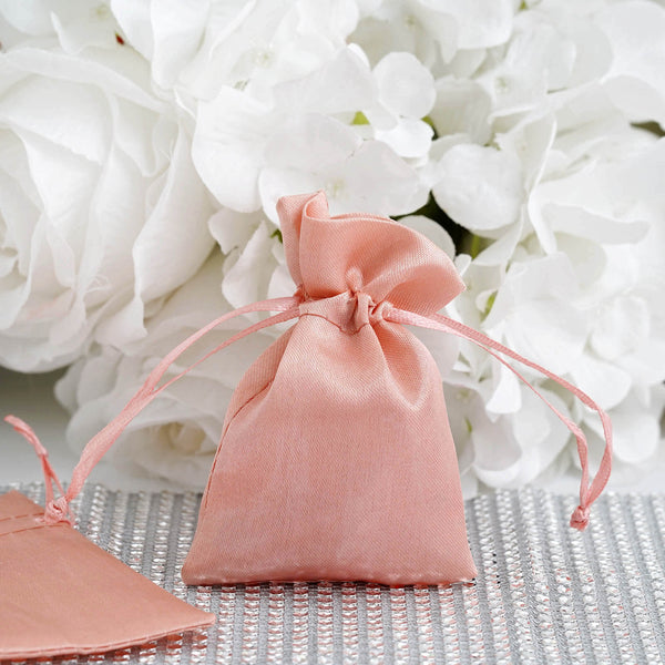 "Pack of 12 | 3""x4"" Dusty Rose Satin Party Favor Bags 