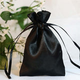 "12 Pack | 3""x4"" Black Satin Favor Bags Party Drawstring Pouches"