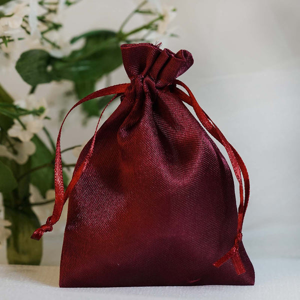 "Pack of 12 | 3""x4"" Burgundy Satin Party Favor Bags 