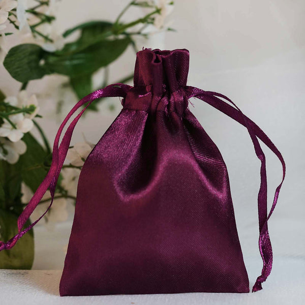"Pack of 12 | 3""x4"" Eggplant Satin Party Favor Bags 