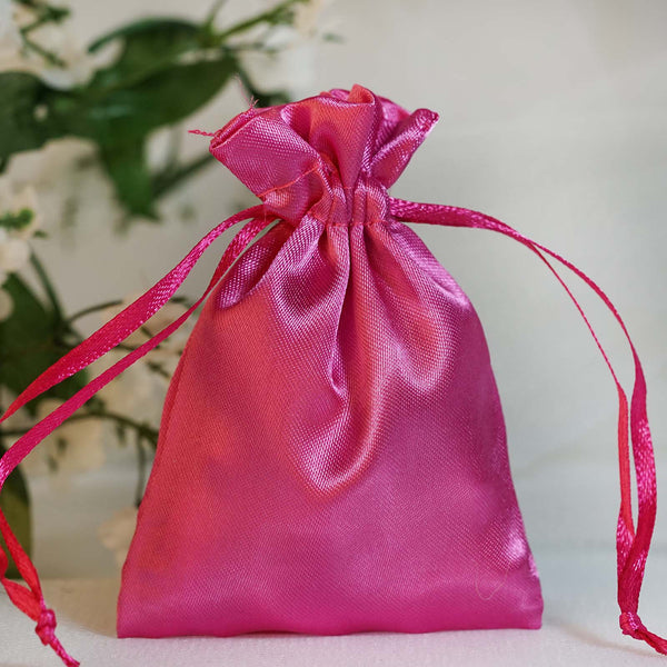 "Pack of 12 | 3""x4"" Fushia Satin Party Favor Bags 