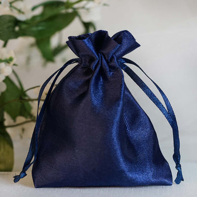 "12 Pack | 3""x4"" Navy Blue Satin Favor Bags Party Drawstring Pouches"