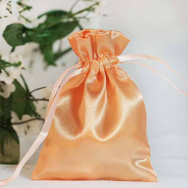 "Pack of 12 | 3""x4"" Peach Satin Party Favor Bags 