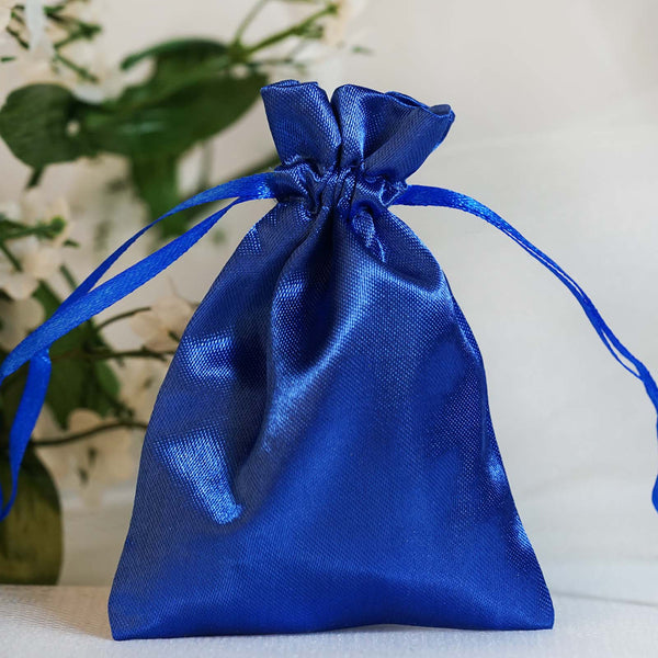 "Pack of 12 | 3""x4"" Royal Blue Satin Party Favor Bags 