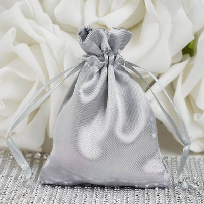 "12 Pack | 3""x4"" Silver Satin Favor Bags Party Drawstring Pouches"