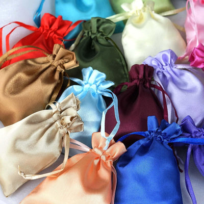 "12 Pack | 3""x4"" White Satin Favor Bags Party Drawstring Pouches"