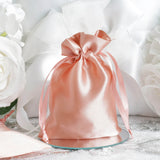 "12 Pack | 4""x6"" Dusty Rose Satin Favor Bags Party Drawstring Pouches"