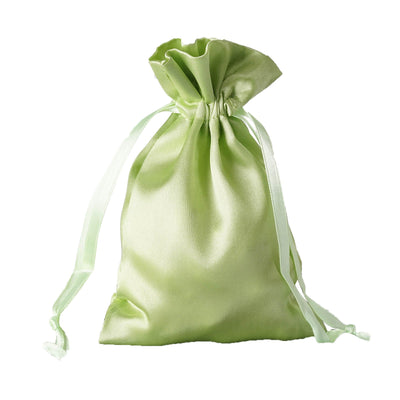 "12 Pack | 4""x6"" Apple Green Satin Party Favor Bags 